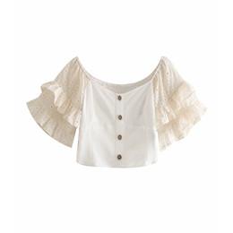 вышивка блуза Скидка 2019 Женщины сладкие каскадные оборки рукава вышивка короткие блузки шикарные льняные рубашки женская косая шея назад эластичные топы LS3759