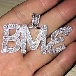 cristal de azúcar al por mayor Rebajas Nombre personalizado Baguette Letras Hip Hop Colgante Con Cadena de cuerda libre Oro Plata Bling Zirconia Hombres Hip Hop Colgante Joyería