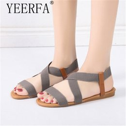 70bdc08ccd4a 11 colors Women Summer Sandals Flat Heel Bohemia Style Rome Gladiator  Sandals Plus Size 35-41 Elastic band Lady Beach