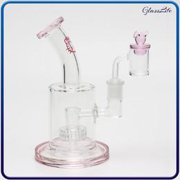 2019 chiodo mini bong Rosa Glass Bong Bong Mini Glass Waterpipe 14 millimetri Lucido quarzo Banger Nail Rig Rosa Cap Dab Oil Rigs inebrianti Dab Bubblers sconti chiodo mini bong