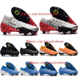 Sapatos de futebol de vapores on-line-2019 mens futebol chuteiras sapatos de futebol AC Mercurial Superfly 7 Elite SG-PRO baratos CR7 Mercurial Vapores 13 botas de futebol SG-PRO Elite