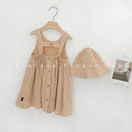 Conception de chapeau de robe en Ligne-Nouvel été bébé filles vêtements robe de princesse + chapeau sans manches o-cou plaid imprimé design bébé enfants vêtements robe