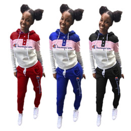 2019 sweat à capuche bicolore Champion Lettre Hoodie Set Femmes Designer Survêtements Deux Piece Outfits Sweat À Capuche + Pantalon Vêtements De Sport Unicolore Combinaison De Survêtement CHEAP C8109 promotion sweat à capuche bicolore