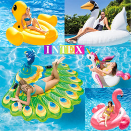 tubos de piscina para adultos Rebajas Flamingo Pool Floats Raf 142 * 137 * 96 cm Inflable gigante Flamingo Pool Floats Tube Raft Adultos Fiesta Piscina Natación flotante DH1069