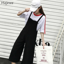 korean style jumpsuits Coupons - Jumpsuits Women Korean Style Trendy Simple Solid Harajuku All-match Student Loose Breathable Casual Womens Ankle-length Trousers