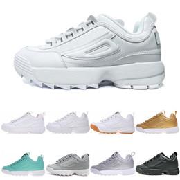 Designer Filasneakers Disruptors II Triple White Black Grey Gold sports platform mens sneakers Trainer Chaussures shoes
