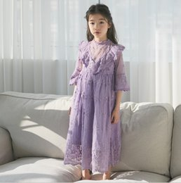 62da6af9dd7 INS Big girls long dress kids V falbala lace gauze embroidery princess dress  children lace collar flare sleeve party dress fit 3-15T F5335