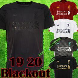 Kits de futebol preto on-line-liverpool 2019 2020 Blackout New Mohamed Salah camisa de futebol 6 troféu 2019 MANE Tops camisa de futebol VIRGIL FIRMINO Kits ALISSON BECKER maillot preto