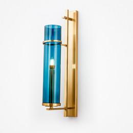 luces de la noche del pasillo moderno Rebajas Diseño creativo Aplique de pared Iluminación Lámpara de pared de cristal azul Oro Bronce LED Lámpara de pared para el dormitorio