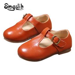 Boys baby patent shoes on-line-Crianças Sapatos Crianças Meninos Meninas Pu Sapatos De Couro Do Bebê Da Criança Retro Preto Couro De Patente Princesa Partido Tenis-infantil Sapatos