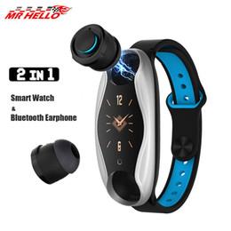 2019 reloj para fitbit flex Pulsera inteligente LT04 doble auricular Bluetooth reloj con Bluetooth para auriculares inteligentes Muñequera impermeable Smartbracelet inteligente para Apple Android