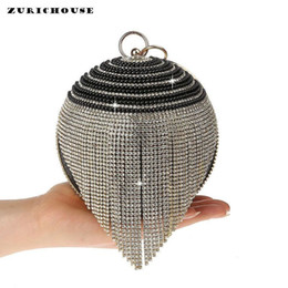 bridal handbags grey Promo Codes - ZURICHOUSE Luxury Women Handbag Diamonds Pearl Tassel Evening Party Pruse Bridal Wedding Banquet Round Ball Shape Clutch Bags