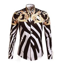 designer vestido de camisa de impressão floral Desconto Moda real de luxo Camisas Dos Homens Elegantes Designer de Marca de Impressão Floral de Manga Longa Fantasia Camisas Casual Slim Fit Camisa de Algodão Vestido