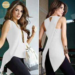 más el tamaño de las tapas de organza Rebajas Blusas blancas para mujer y blusas Summer Female Cross Ladies Top O-Neck Blusa para mujer Tops sin mangas para mujer Tank