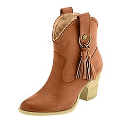 zapatos cowboy Promo Codes - JAYCOSIN 2019 Women Ankle Boots Block High Heels Botas Zapatos Mujer Retro Leather Winter Shoes Plus Size Booties Cowboy Boots