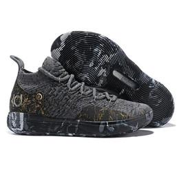 2019 кд 11 обувь Высокое качество Kevin Durant 11 Мужская Баскетбольная Обувь Черный Серый KD Дизайнерская Обувь Мужские Кроссовки Спортивная Обувь Без Коробки дешево кд 11 обувь