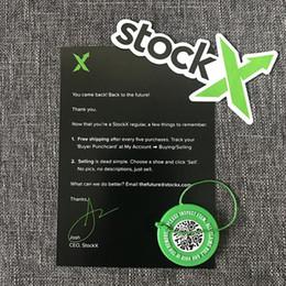 stocker de nouvelles chaussures Promotion Vente en gros en Stock X Vert Étiquette Circulaire Autocollant Rcode Flyer Carte Authentique Boucle En Plastique StockX pour Chaussures Nouveau
