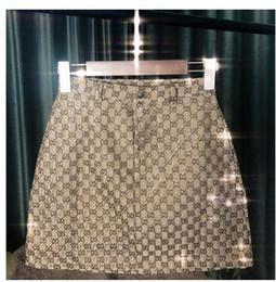 diseños de faldas para mujer Rebajas 2019 Nuevo diseño moda mujer verano cintura alta a-line logo letra jacqaurd shinny bling rhinestone remiendo falda corta de lujo S M L XL