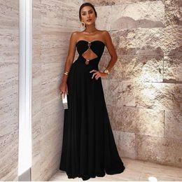 abiti di occasione neri sexy Sconti Più nuovo 2019 Little Black Evening Dress formale A Line Sweethart Hollow lunghe donne Abiti Occasioni Prom Party Wear LLF2107