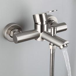 Accessori per doccia online-Doccia da bagno alta SUS 304 Rubinetto per vasca in acciaio inossidabile Installazione esterna a parete con due pulsanti Sistema di controllo a due pulsanti