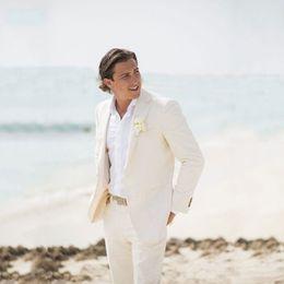 uomini che portano il vestito migliore Sconti Summer Beach Avorio Lino uomini vestiti per sposa sposo è adatto a indossare personalizzato sposo Abbigliamento slim fit casuale smoking Best Man Blazer Jacket + Pants