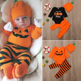 Ropa de niños esqueleto online-3PCS Set 2018 New Newborn Kid Baby Boy Outfit Clothes Pumpkin Romper Pants Skeleton Halloween Costume Clothing Set