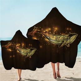 Goldenes handtuch online-Goldener Whale Beach Towel Luxuriöse Mikrofaser Handtuch mit Kapuze Karikatur-Tier Wearable Badetuch glänzenden Serviette