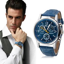 2019 reloj de cocodrilo de lujo 2018 Best Sell Watch Men New Luxury Fashion Cocodrilo Faux Leather Band WristWatch Blue relogio masculino erkek kol saati reloj reloj de cocodrilo de lujo baratos