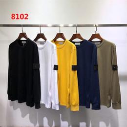 Хип-хоп длинные футболки онлайн-Новые мужские дизайнерские футболки осень зима мужчины с длинным рукавом с капюшоном хип-хоп кофты повседневная одежда свитер островной свитер M-2XL 8102 5 цветов