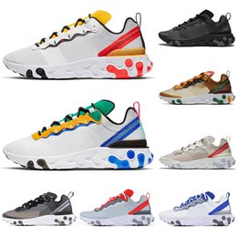 Chaussures de tennis jaune en Ligne-2019 nike Designer React Element 55 87 chaussures de course hommes femmes triple black Royal Tint VOLT RACER ROSE formateurs pour hommes anthracite baskets de sport