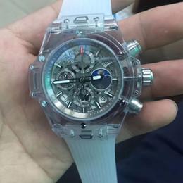 2019 мужские прозрачные часы 4 типа Новая мода мужские кварцевые часы хронограф большой размер 46 мм секундомер прозрачный корпус белый резиновый ремешок все sub циферблаты работает открытая спина дешево мужские прозрачные часы