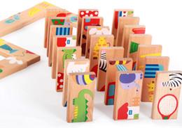 dominos jouets Promotion 28 pcs / lot Jouets en bois pour enfants jeu de société High-grade 28 pièces en bois de hêtre dominos Early Learning cognitive jouets éducatifs