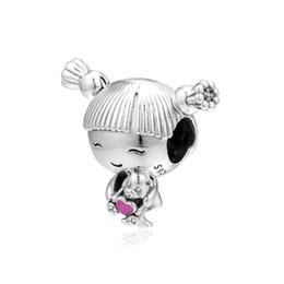 perline ragazza pandora Sconti Nuovo 100% originale 925 Sterling Silver Bead Charm Girl con trecce Red Heart Beads Fit Pandora Women Bracelet Bangle Fai gioielli fai-da-te