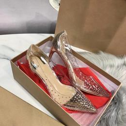 Прозрачные вечерние платья онлайн-2019 Кружевные Высокие каблуки Свадебная Clear Красочные хрустальные насосы обувь Женщина стилет Transparent 8см платье партии Марка Тонкий каблук ПВХ обувь
