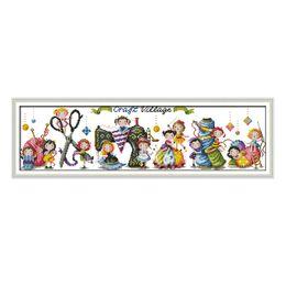2019 dipinti di villaggio Craft Village K948 Dipinti Aida Tela Punto Croce 11CT 14CT Lavoro Manuale Set Ricamo Principessa All'ingrosso Della Fabbrica Ricamo Decorazioni Per La Casa dipinti di villaggio economici