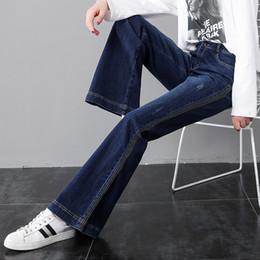 blue jeans Side stripe Jeans de pierna ancha para mujer Pantalones de  mezclilla de cintura alta pantalones más el tamaño streetwear suelta moda  coreana 2019 2febc575c7d0