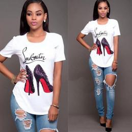 Camiseta de tacones altos online-¡Explosivo! Mujeres con cuello redondo Personalidad de la moda Tacones altos Impresión digital Camiseta