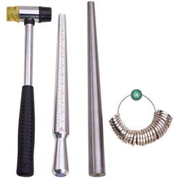 THGS 4 Imposta Anello mandrino Sizer Strumento con metallo barretta del mandrino di Dimensionamento di misura Stick siamo 0-15 E Sizer dell'anello Calibro di 27 Pz Ci da
