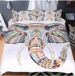 2019 ensemble de literie 3d éléphant Elephant Owl Literie Bohême Géométrique Housse de couette avec coloré Print Taie d'oreiller Ensemble de lit Couverture promotion ensemble de literie 3d éléphant