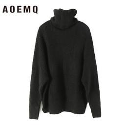 Mulheres de camisola de gola alta de acrílico on-line-Aememq suéter de natal acrílico de lã preto sólido mulheres tops camisola de gola alta camisola longa roupas de inverno quente para as mulheres