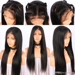 redes de cabelo do bebê Desconto 360 Peruca Dianteira Do Laço Pré Arrancado Com o Cabelo Do Bebê Glueless Em Linha Reta Frente Perucas de Cabelo Humano Para As Mulheres Negras Remy Brasileiro + peruca líquida