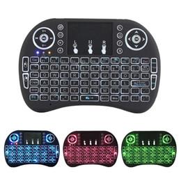 Vôo espanhol on-line-Mini I8 teclado sem fio do mouse ar voando 2.4G esquilo com touchpad tri-color backlight-Russo, Espanhol, Inglês Opcional