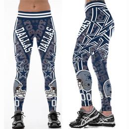 calças de cintura alta cintura Desconto Multi-Color Mulheres Leggings Dallas Cowboys impresso cintura alta cinto largo execução calças justas calças de yoga S-4XL
