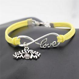 Canada Exquis Infini Amour Amour Volley-ball Sports Game Team Jaune En Cuir Daim Wrap Bracelets Bracelets Antique Tissage Femmes Hommes Bijoux Cadeau supplier volleyball leather Offre