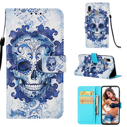 flower leather flip phone case Coupons - 3D Skull Leather Wallet Case For Galaxy M30 M20 M10 A70 A50 A40 A30 A20 A10 Unicorn Flower Dreamcatcher Owl Butterfly Phone Flip Cover Pouch