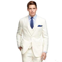 Marfim casamento vestidos de prata on-line-Brand New Marfim Noivo Smoking Notch Lapela Padrinhos de Casamento Dos Homens Vestido Popular Homem Jaqueta Blazer 3 Peça Terno (Jaqueta + Calça + colete + Gravata) 888