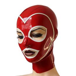 Hombres blancos zentai online-Lencería exótica sexy mujer mujer hombre masculino unisex hecho a mano rojo látex empalmado blanco ajuste capillas abiertas máscara capucha cekc uniforme zentai
