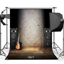 spray de guitarra Desconto Cortina preta Guitarra Rádio Spotlight Vinyl Photographic Background Para Festa de Aniversário Do Bebê Chuveiro Backdrops Photo Shoot Booth