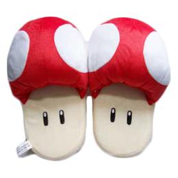 Обувь плюшевые игрушки тапочки онлайн-Тапочки Catton Game Mario Bros Обувь Теплый Синий Красный Гриб Мягкие Плюшевые Комнатные Тапочки Мягкие игрушки бесплатная доставка