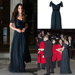 d9ff3dfcac Jenny Packham Kate Middleton Navy Blue Evening Formal Dresses Long Backless  A Line Tulle Short Sleeve Celebrity Prom Gowns Red Carpet Dress discount  royal ...
